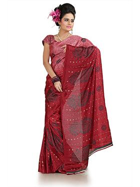 Printed Khadi Silk Saree - Maroon-1003