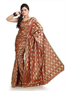 Printed Silk Crepe Jacquard Saree - Olive & Red