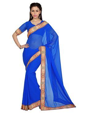 Designer Sareez Faux Georgette Printed Saree - Blue - 1609
