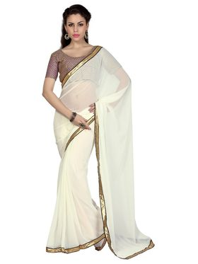 Designer Sareez Faux Georgette Embroidered Saree - Off White - 1634
