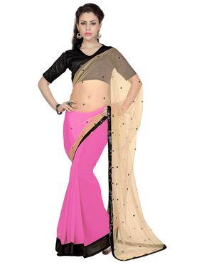 Designer Sareez Faux Georgette & Net Embroidered Saree - Beige & Pink - 1655