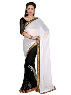 Designer Sareez Faux Georgette Embroidered Saree - Off White & Black - 1690