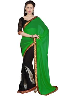 Designer Sareez Faux Georgette Embroidered Saree - Green & Black - 1692