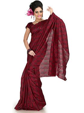Designer Sareez Printed Bhagalpuri Silk Saree - Maroon-1008