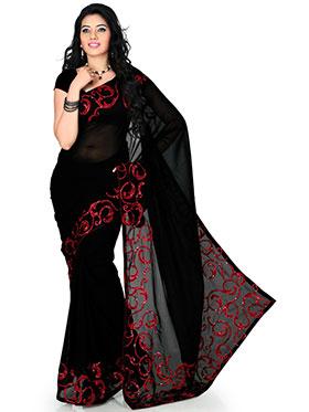 Designer Sareez Faux Georgette Embroidered Saree- Black