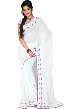 Designersareez Embroidery Faux Georgette Saree - White