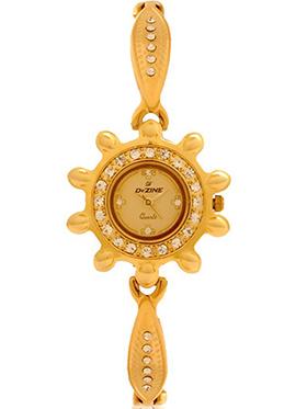 Dezine Wrist Watch for Women - Golden_DZ-LRD005-GLD-GLD