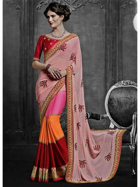 Viva N Diva Chiffon & Georgette Embroidered Saree -Dramatic-5105