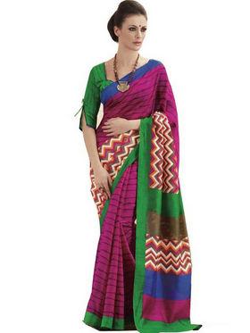 Ethnic Trend Cotton Printed Saree - Multicolour - 10001