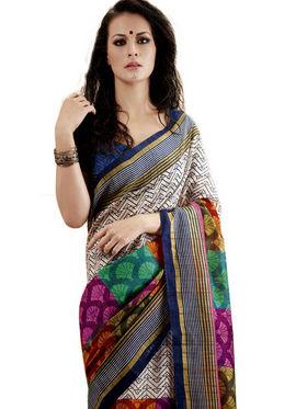 Ethnic Trend Cotton Printed Saree - Multicolour - 10023