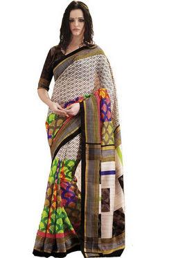 Ethnic Trend Cotton Printed Saree - Multicolour - 10024
