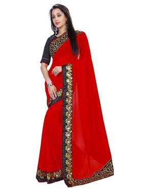 Khushali Fashion Embroidered Georgette Saree(Red)_ETH6018