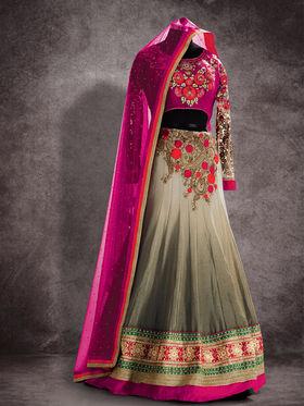 Viva N Diva Pure Georgette Floral Embroidery Lehenga -Ehsaas-605