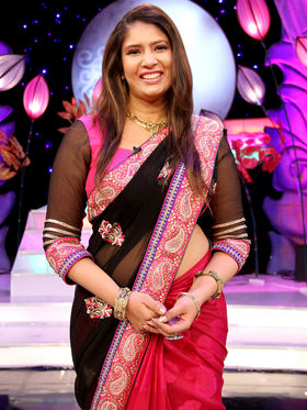 Elegant Black & Pink Designer Saree from Aaha Enna Porutham (4314)