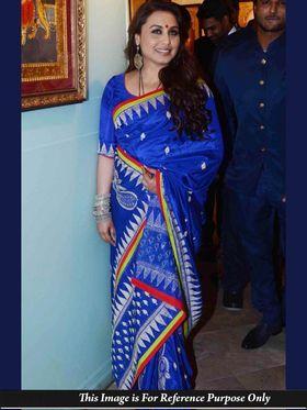 Ethnic Trend Silk-Georgette Embroidered Saree - Blue - 386