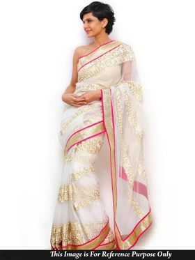 Ethnic Trend Net Embroidered Saree - White - 391