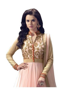 Fabfiza Embroidered Net Semi Stitched Salwar Suit_FB-5001