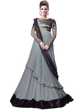 Fabfiza Embroidered Net Semi Stitched Salwar Suit_FB-5023