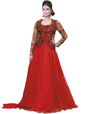 Fabfiza Embroidered Net Semi Stitched Salwar Suit_FB-5025