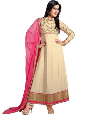 Fabfiza Embroidered Georgette Semi Stitched Salwar Suit_FB-6273