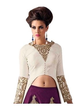 Fabfiza Embroidered Dupion Silk Semi Stitched Salwar Suit_FB-6336