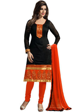 Fabfiza Embroidered Cotton Semi Stitched Dress Material_FB-6576