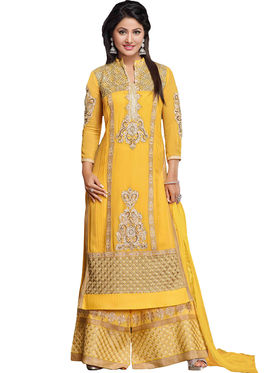 Fabfiza Embroidered Georgette Semi Stitched Straight Suit_FBHN3-55011