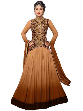 Fabfiza Embroidered Georgette Semi Stitched Anarkali Suit_FBHZ-42004J
