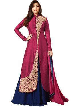Fabfiza Embroidered Bhagalpuri Semi Stitched Straight Suit_FBLT-88008