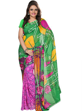 Florence Faux Georgette  Printed  Sarees FL-3174-C