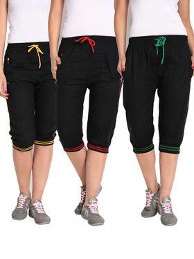 Combo of 3 Comfort Fit Cotton Capris for Women_pf09