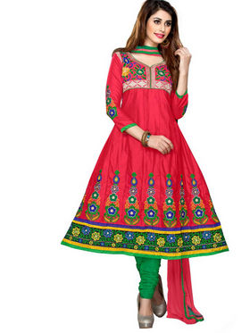 Florence Cotton Embroidered Semi Stitched Anarkali Suits - Red - SB-1997