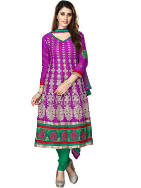 Florence Cotton Embroidered Semi Stitched Anarkali Suits - Purple - SB-2000