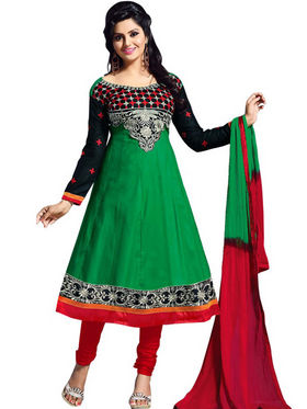 Florence Combric Cotton Embroidered Dress Material - Green - SB-2077