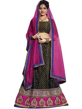 Florence Net & Shantoon Embroidered Lehenga - Black - AN_1016