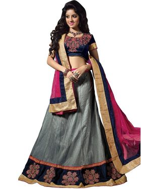 Florence Net & Shantoon Embroidered Lehenga - Grey