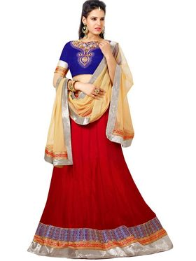 Florence Net with Braso Embroidered Lehenga - Red