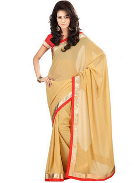 Florence Georgette Embriodered Saree - Beige - FL-10163