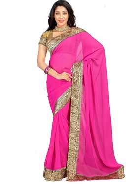 Florence Chiffon Emboridered  Saree - Pink - FL-10216-PINK-March