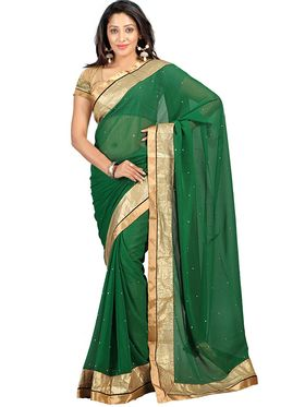 Florence Chiffon Emboridered  Saree - Green - FL-10222-March