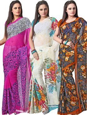Pack of 3 Florence Printed Faux Georgette Saree - FL_Dani6_ 3_11