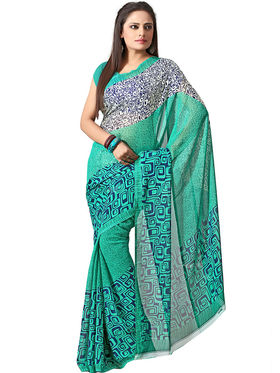 Florence Pack of 7 Multicolor Printed Faux Georgette Saree