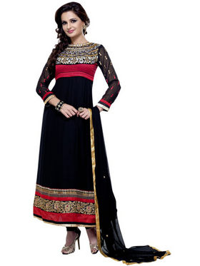 Florence Chiffon Embroidered Dress Material - Black - SB-1705