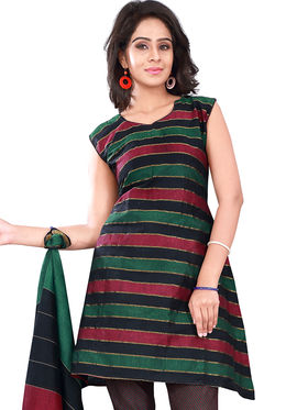 Florence Cotton Printed Dress Material - Green & Red - SB-2759