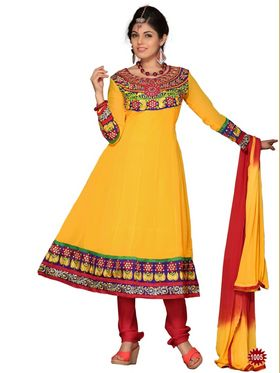 Pack of 3 in 1 Florence Georgette Embroidered Semi Stitched Anarkali Suits  - Multicolour