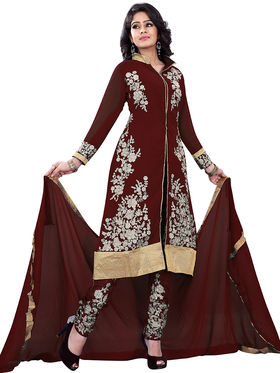 Florence Georgette Embroidered Dress Material - Brown - SB-2718