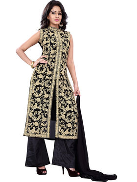 Florence Georgette Embroidered Dress Material - Black - SB-2722