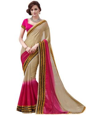 Bahubali Satin Chiffon Embroidery Saree -GA20013