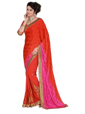 Khushali Fashion Embroidered Georgette Half & Half Saree_KF38
