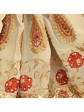 Khushali Fashion Embroidered Georgette Half & Half Saree_KF39